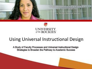 Using Universal Instructional Design