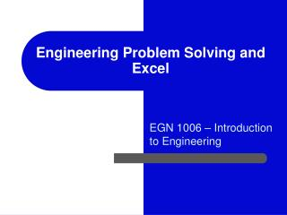 Engineering Problem Solving and Excel