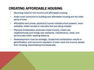 Creating affordable housing