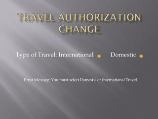 Travel Authorization Change