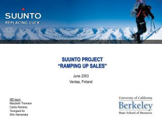 "SUUNTO PROJECT ""RAMPING UP SALES"""