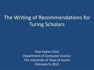 The Writing of Recommendations for Turing Scholars