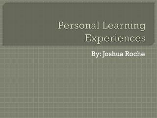 Personal Learning Experiences