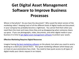 Get Digital Asset Management Software to Improve Business Pr