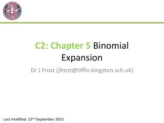 C2: Chapter 5  Binomial Expansion
