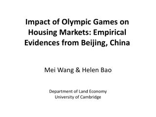Impact of Olympic Games on Housing Markets: Empirical Evidences from Beijing, China