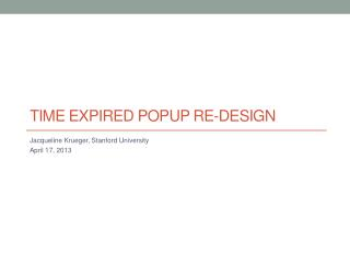 Time Expired Popup RE-design