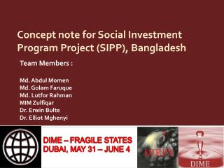 Concept note for Social Investment Program Project (SIPP), Bangladesh