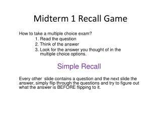 Midterm 1 Recall Game