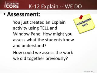 K-12 Explain -- WE DO