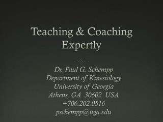 Teaching & Coaching Expertly