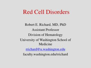 Red Cell Disorders
