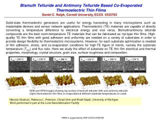 Bismuth Telluride and Antimony Telluride Based Co-Evaporated Thermoelectric Thin Films