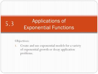 Applications of  Exponential Functions