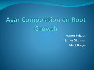 Agar Composition on Root Growth