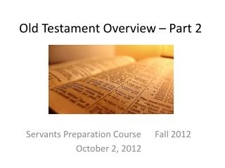 Old Testament Overview – Part 2