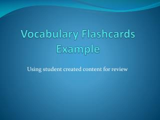 Vocabulary Flashcards Example