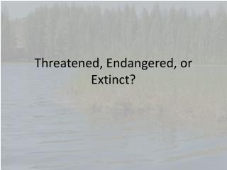Threatened, Endangered, or Extinct?