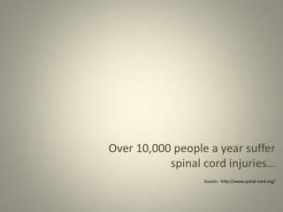 Over 10,000 people a year suffer spinal cord injuries… Source - spinal-cord/