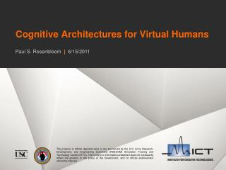 Cognitive Architectures for Virtual Humans