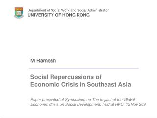Social Repercussions of  Economic Crisis in Southeast Asia