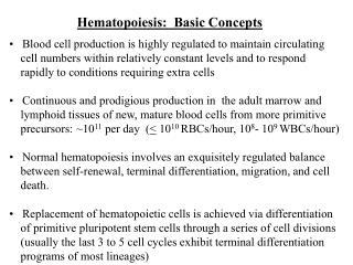 Hematopoiesis:  Basic Concepts