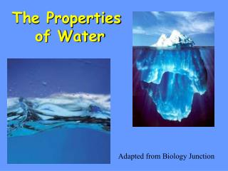a description of the properties of water that make it a unique material and an essential component o Water is essential for life it covers 2/3 of the earth's surface and every living thing is dependent upon it the human body is comprised of over 70% water, and it is a major component of many bodily fluids including blood, urine, and saliva.