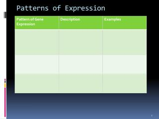 Patterns of Expression