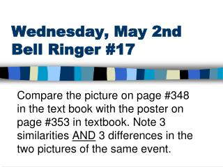 Wednesday,  May 2nd Bell Ringer  #17
