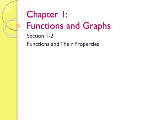 Chapter 1: Functions and Graphs