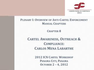 Plenary I: Overview of Anti-Cartel Enforcement Manual Chapters  Chapter 8