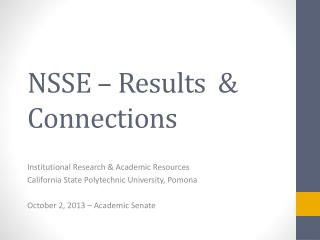 NSSE – Results  & Connections