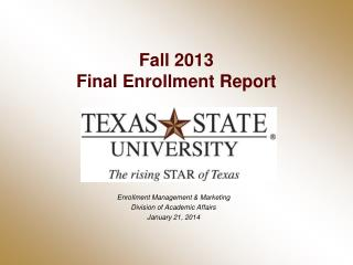 Fall 2013 Final Enrollment Report