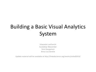 Building a Basic Visual Analytics System