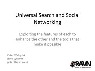 Universal Search and Social Networking