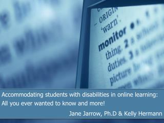 Accommodating students with disabilities in online learning: