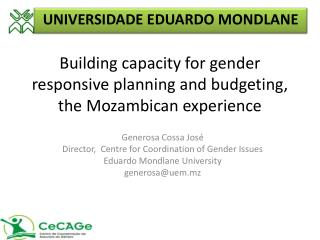 Building capacity for gender responsive planning and budgeting, the Mozambican experience