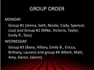 GROUP ORDER