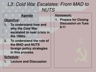 L3: Cold War Escalates: From MAD to NUTS