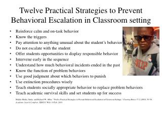 Twelve Practical Strategies to Prevent Behavioral Escalation in Classroom setting