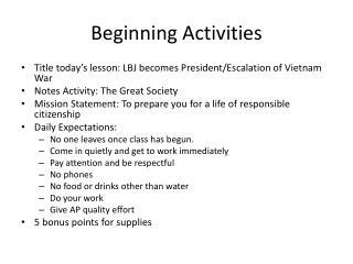 Beginning Activities
