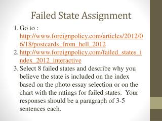 Failed State Assignment