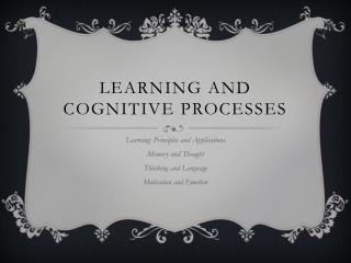 Learning and cognitive processes