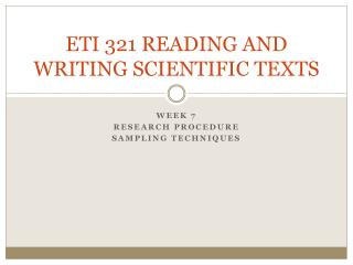 ETI 321 READING AND WRITING SCIENTIFIC TEXTS