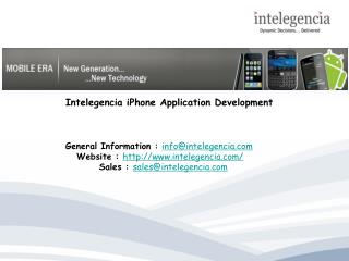 Intelegencia iPhone Application Development
