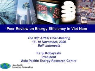The 38 th APEC EWG Meeting 18~19 November, 2009 Bali, Indonesia Kenji Kobayashi President