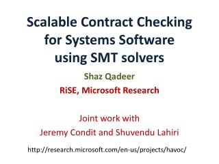 Scalable Contract Checking for Systems Software  using SMT solvers