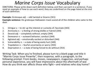 Marine Corps Issue  Vocabulary