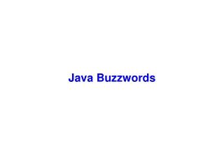 Java Buzzwords