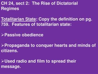 CH 24, sect 2:  The Rise of Dictatorial Regimes